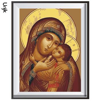 Urijk No Frame Oil Painting Virgin Mary Jesus Wall Art Orthodox Icon Religi Oil Painting By Numbers Canvas DIY Modular Paintings