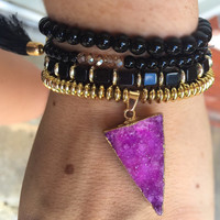 Purple druzy bracelet stack
