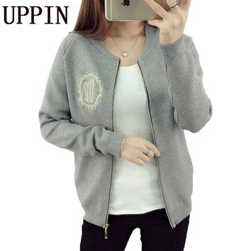 UPPIN Autumn Spring Zipper Sweater Cardigan Feminino Female Casual Knitted Mohair Cardigans Women Baseball Sweaters Coat