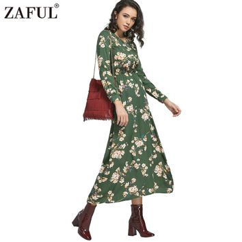 ZAFUL New Autumn Floral Print Long Dress Women Bohemian Long Sleeve Buttons Tiny Boho Maxi Dresses Tunic Vestidos Robe Green