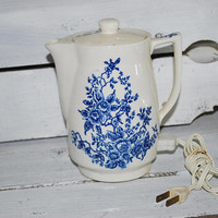 Electrical Tea Kettle , Blue and White , 1960s Kitsch Kitchen , Noritake Japan , Working Find