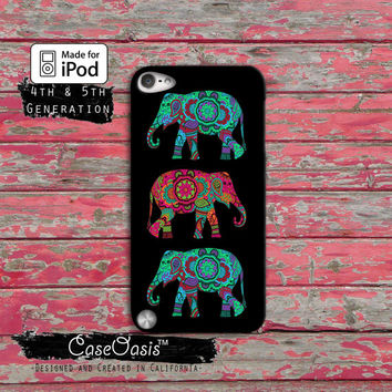 Elephant Indian Tribal Pattern Blue Red Boho Chic Case iPod Touch 4th Generation or iPod Touch 5th Generation or iPod Touch 6th Gen Rubber