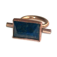 Lapis lazuli pyramid cut stone and bronze ring
