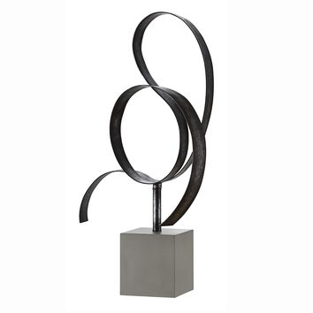 Lan Free Form Steel Sculpture in Concrete Base -- 25-in