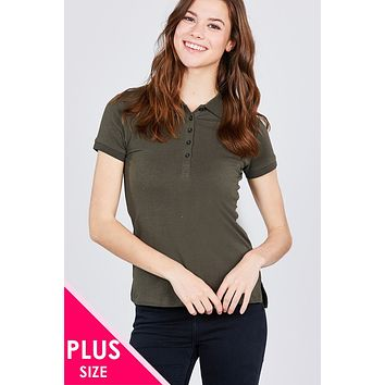 Classic Jersey Spandex Polo Top Womens Plus Size Edgy Casual Clothing Plus Size Styles And Trends