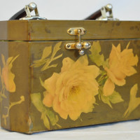 Adorable Green Floral Decoupage Box Purse Footed Lined, Handmade Vintage