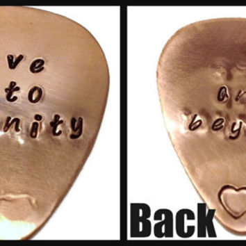 Love You to Infinity and Beyond Copper Guitar Pick - Father's Day Gift, Gifts for Men, Gift for Husband, Gifts for Musicians