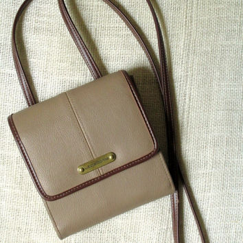 Crossbody Wallet Shoulder Bag organizer wallet long strap purse taupe tan brown vegan faux leather vintage travel bag Liz Claiborne