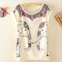 Cute Elephants Print Shirt with Flora Details HNG13