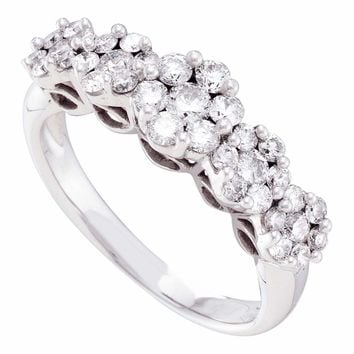 14kt White Gold Womens Round Diamond Five Flower Cluster Ring 1.00 Cttw