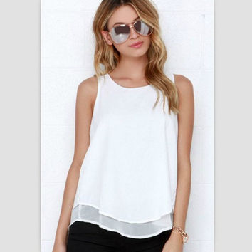Lossky Individual Tee Shirt Femme 2016 Summer Style Women Tops Sleeveless Double Layer Ropa Mujer Loose blusas White Blouse