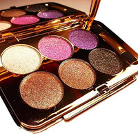 Women Waterproof 6 Colors Make UP Glitter Eyeshadow Palette with Brush