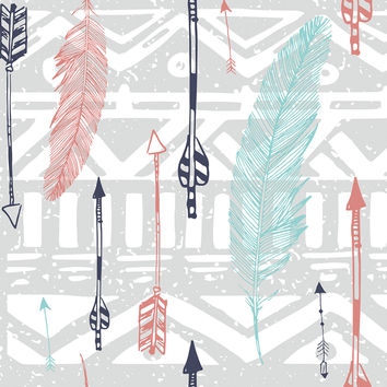 Feathers and Arrows Print Removable Wallpaper