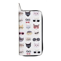 Cats in Glasses Women's Zipper Wallet with Gold Accents
