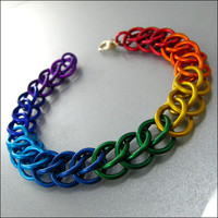 Chainmaille Bracelet Rainbow Stripes Persian Chainmaille Jewelry by Janabolic