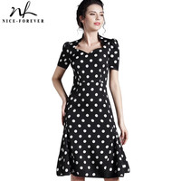 Nice-forever Polka dot women Sweat Heart Neck Mermaid dress Elegant Short Sleeve Bodycon Formal Sheath Wiggle Shift Dress b48
