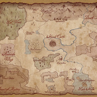Hyrule Overworld Map- Legend of Zelda- Antique Style Video Game Map- Gamer Poster- Giclee Art Print