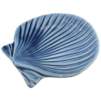 Blue Porcelain Scallop Shell Trinket Dish | 3-3/4-in