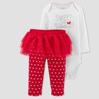 Baby Girls' Sweet Little Valentine 2pc Tutu Set - Just One You™ Made by Carter's® White/Red