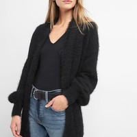 Balloon-sleeve feathered knit cardigan | Gap