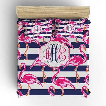 Flamingo BEDDING Comforter, Stripe DUVET COVER, Navy Hot Pink, Lily Pattern, Monogram Pillowcase, Toddler, Twin, Queen, King Set
