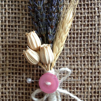 Handmade Wedding Corsages - Lavender Corsages, Blond Wheat Corsages, Florentine Pods Corsages, Pink Button, Country Rustic