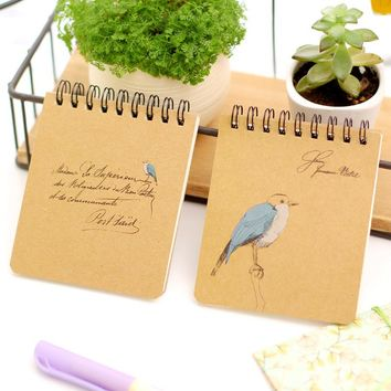 Blue bird dream notebook Mini spiral book diary Portable notepad planner binder cuaderno Stationery office School supplies 6816