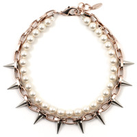 Lost Innocence Spike Necklace with Cream Pearls - Rose Gold/ Silver Spikes/ Cream Pearls