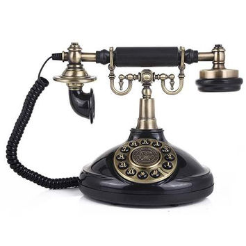 LNC Vintage Antique Style Push Button Dial Table Telephone Home and Office Decor