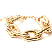Chunky Chain Links Bracelet Metallic Gold Tone Statement Bangle BD01 Fashion Jewelry