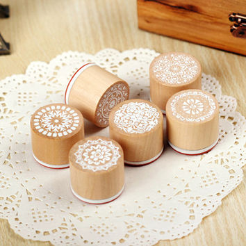 Vintage Style WOOD Round STAMP Lace Doily Pattern Rubber Stamp/Doily Rubber Stamp/Wooden Stamp/Wedding Stamp/Shipping from PARIS