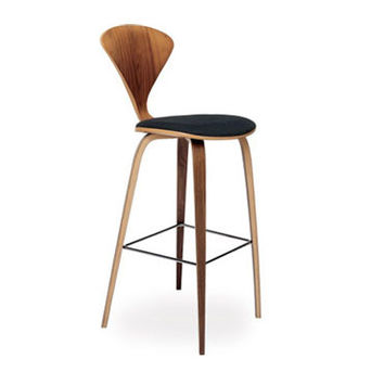 cherner wood leg stool - upholstered seat