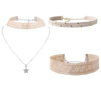 Casual Gothic Three Pieces Choker Necklace