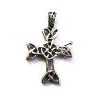 Sterling Silver Scottish Celtic Cross Pendant Vintage Artisan Made