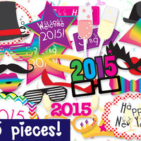 MEGA PACK New Years Photobooth Props - PRINTABLE - 35 piece - Instant Download, Print, Party - New Year's Eve Photo Booth Paper Props Diy