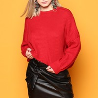 Stevie Cropped Sweater - Cherry Red