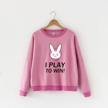 Overwatch Dva I Play To Win Pink Pullover Sweater