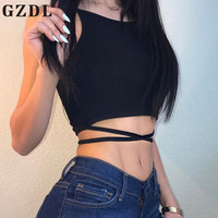 GZDL Women Sexy Hollow Out Bra Tank Top Strappy Backless Lace Up Girls Camisole Beach Slim Short Crop Tops Black Camis CL3934