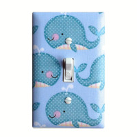 Whale Light Switch Plate Cover / Baby Boy Girl Gender Neutral Nursery / Nautical Bathroom Teal / Kids Room Bathroom Under Sea