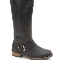 Black Poppy Tall Buckle Boots at PacSun.com