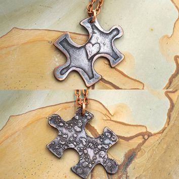 Puzzle Piece or Autism Necklace Copper Pendant Necklace Double Sided