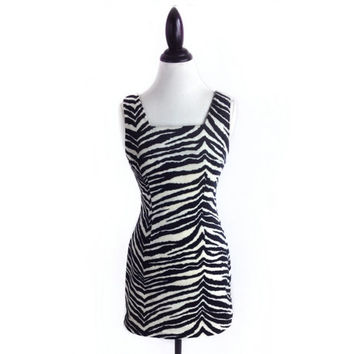 90s Fuzzy Zebra Print Black and White Mini Dress // M