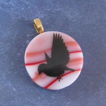 Bird Necklace Pendant, Omega Slide, Peace Dove Jewelry, Dove Jewelry on Etsy, Large Gold Bail - Jemima - 4101 -3