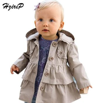 Hot 2016 New Fashion Baby Girl Warm Autumn Jackets Toddler Kids Girl Princess Long Hooded Coat Kids Dress Baby Coat Kids Clothes