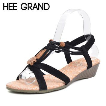 HEE GRAND Women Sandals 2017 Summer New Vintage Style Gladiator Platform Wedges Beach
