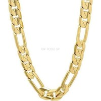 Concave Figaro 10mm 18K Gold Plated Chain