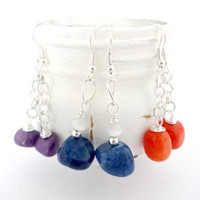 Earring Gift Set, Handmade Gemstone Earrings, Purple Blue and Orange Dangle Earrings