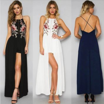 Sexy Black/White/Blue Rose Floral Embroidered High Low Boutique Party Dress