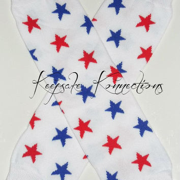 Star Leg warmers, Red, White and Blue Star Legwarmers-Cotton Legwarmers-Photo Shoot -4th of July