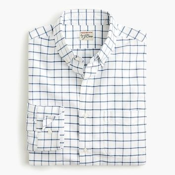 American Pima cotton oxford shirt with mechanical stretch in windowpane